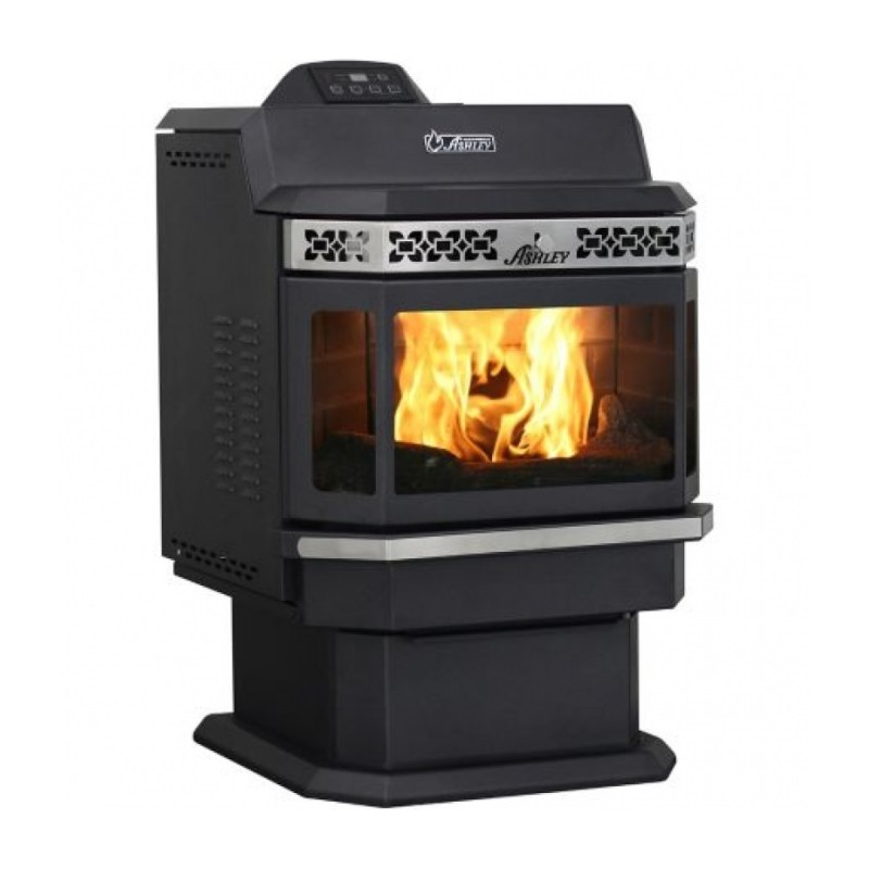 Ashley Pellet Stove, 2,200 sq. ft. with Bay Front and Extended Hopper