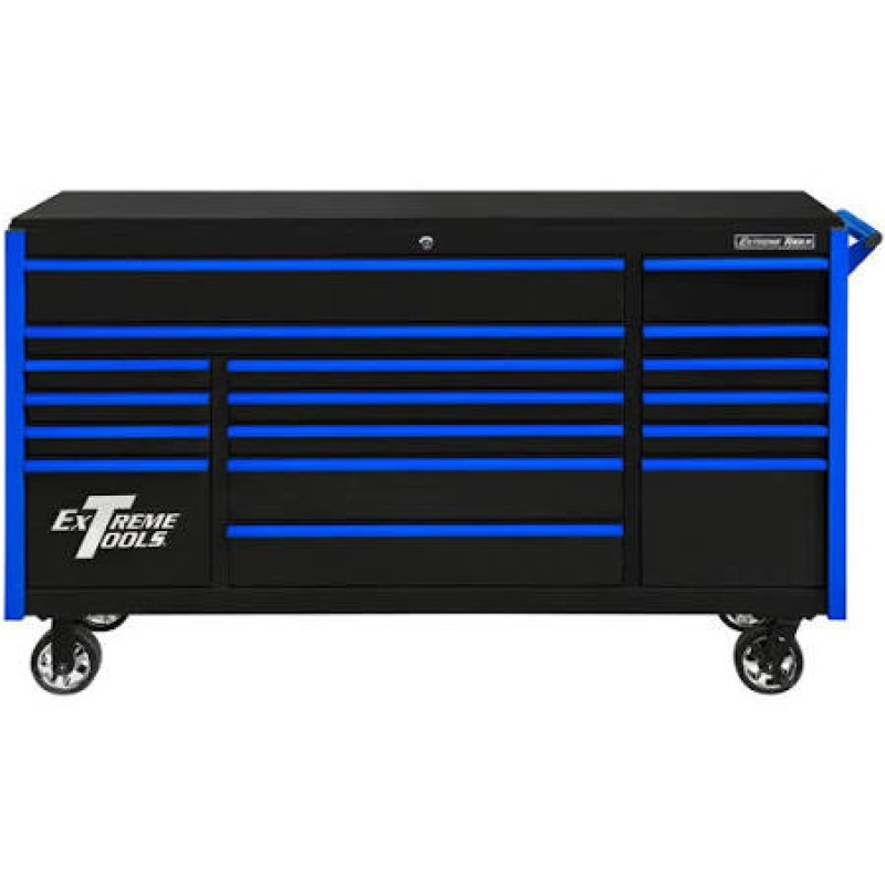 Extreme Tools 17 Drawer Deep Roller Cabinet with Black with Blue Drawer Pulls DX Series 72-in