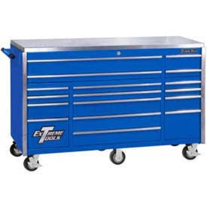 Extreme Tools 17 Drawer Triple Bank Professional Roller Cabinet- Blue 72 In.