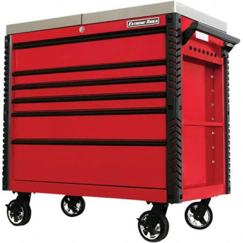 Extreme Tools 6 Drawer Stainless Steel Sliding Top Deluxe Tool Cart with Bumpers, Red with Black Drawer Pulls 41-in