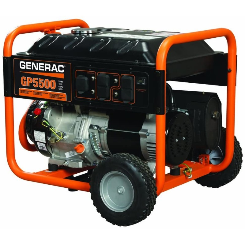 Generac Recoil Start Portable Generator - 5939, GP5500 389cc 5,500-Watt 120 or 240-Volt